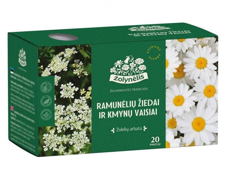 Žolelių arbata Ramunėlių žiedai ir kmynų vaisiai - Žolynėlis, 24 g