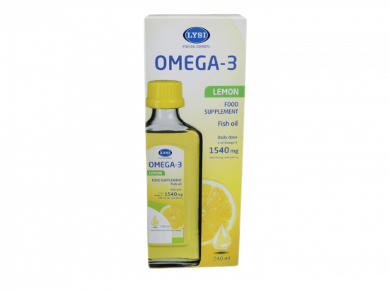 Skysti žuvų taukai - Lysi Omega 3, citrinų skonio, 240ml