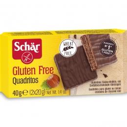 Šokoladinis vaflinis desertas - Schar Quadritos, 40g